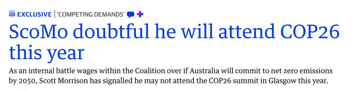 """.@ScottMorrisonMP speaking to @westaustralian """"signals"""" he may not attend @COP26 in #Glasgow as his #coalition partners @The_Nationals @LNPQLD are publicly riven re zero #emissions #climatechange & @Barnaby_Joyce gabbles more gobbledygook. #auspol #ausvotes (2021/22) #democracy"""