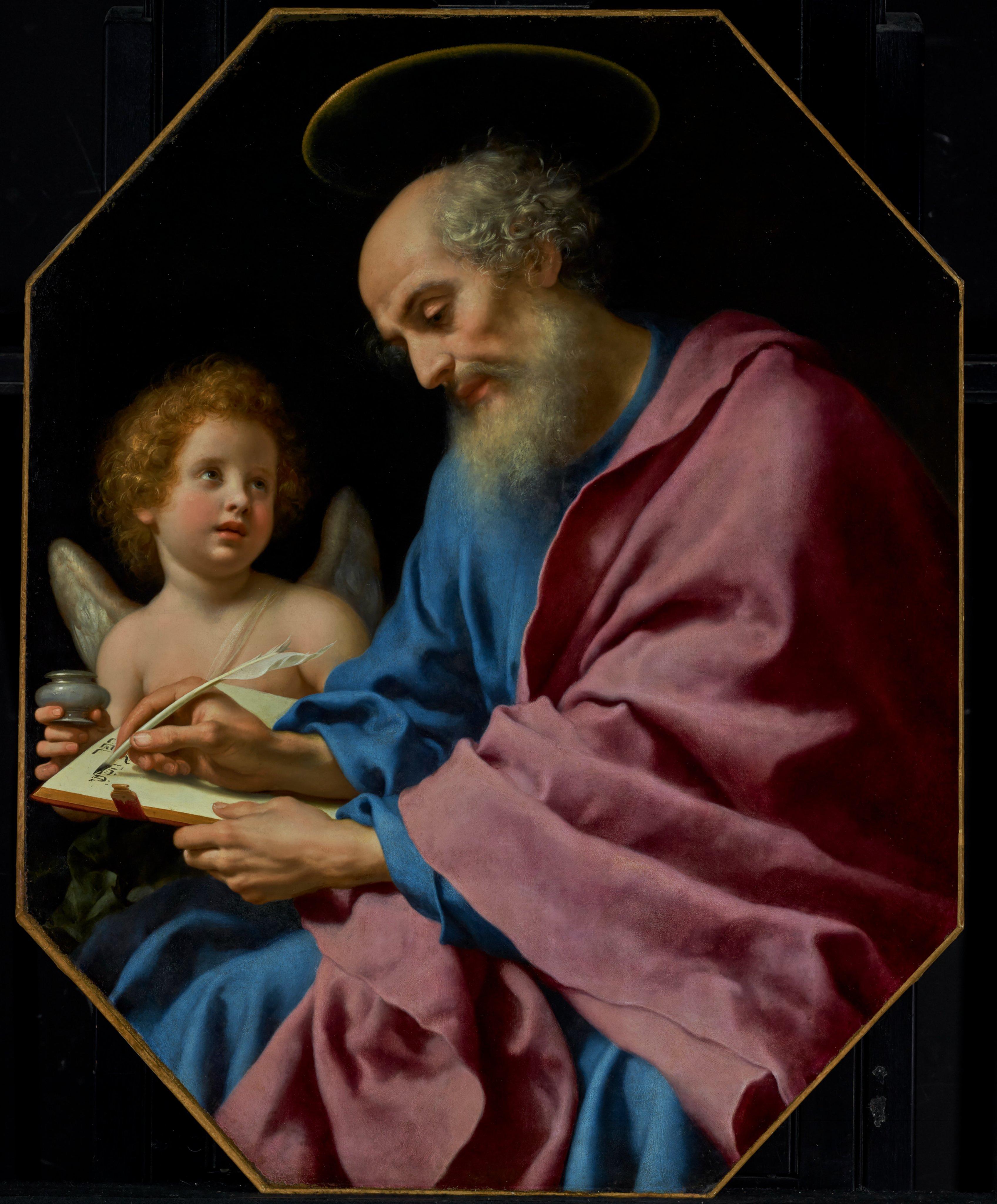 São Mateus escrevendo o evangelho