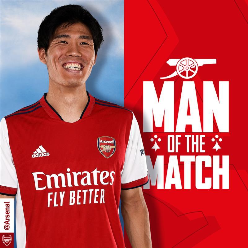RT @Arsenal: 🏆 Your MOTM from last night's win...   Takehiro Tomiyasu 🥳  #ARSTOT https://t.co/D79LMXjzfX