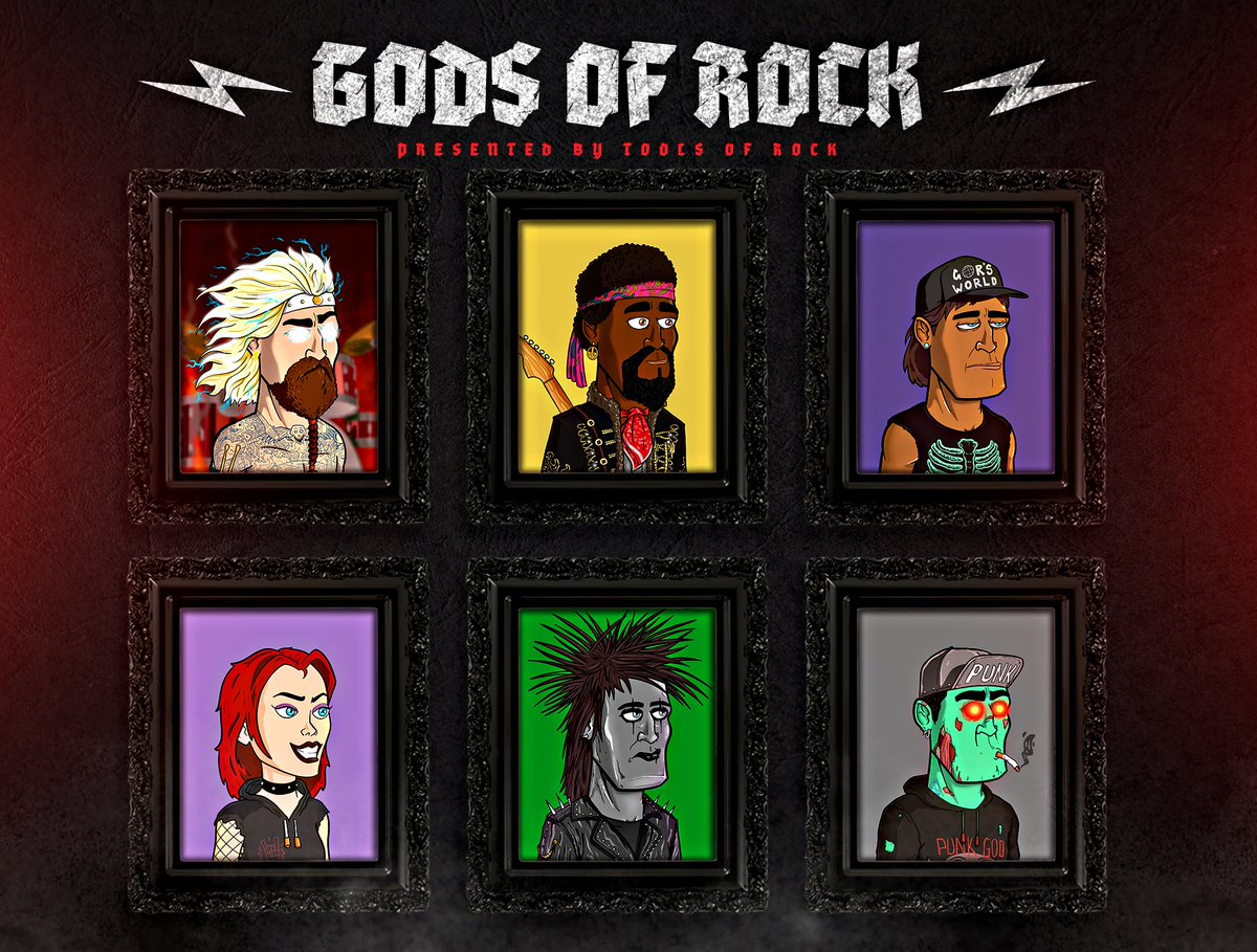 The Weekend of Rock continues.. and we are releasing our Gods of Rock avatar project art catalog! Our Gods (and Goddesses) of Rock will consist of 10K male and female avatars all uniquely generated from a pool of both historical, pop culture, BUT with common theme: Rock & Roll!