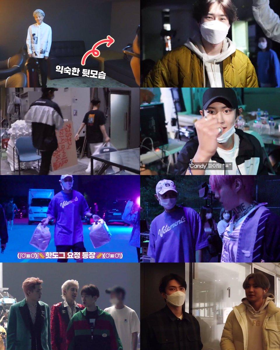 EXO visiting each other on their sub-unit/solo MV filming set 🤍  KYUNGSOO → EXO-CBX's 'Blooming Day' set JUNMYEON → Baekhyun's 'Candy' set CHANYEOL → BH's 'Candy' set with 🍩 CY → Sehun's 'On Me' set with 🌭 BAEKHYUN → 'EXO-SC's '1BV' set SEHUN → Chanyeol's 'Tomorrow' set