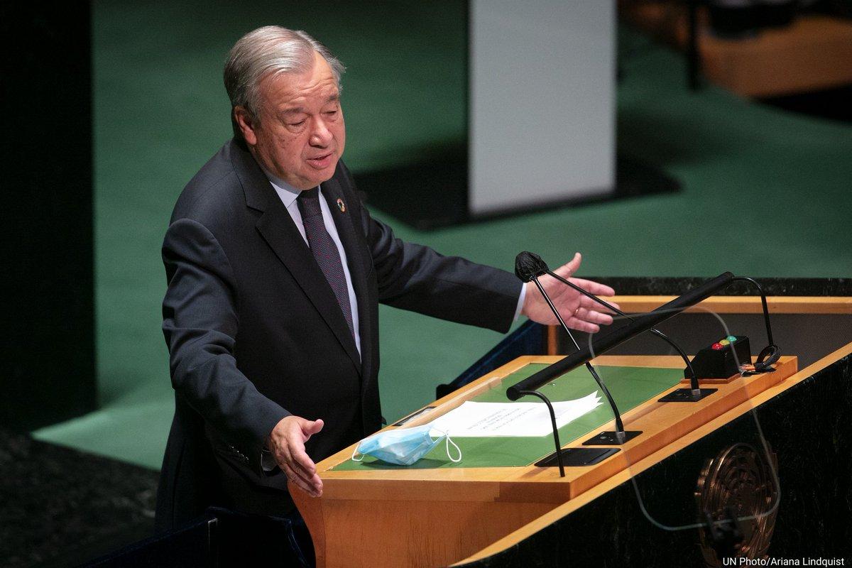 Enerji Zirvesi'nde konuşan Genel Sekreter António Guterres, yaklaşık 760 milyon kişinin elektriğe erişiminin olmadığını ve enerji kaynaklı emisyonların toplam sera gazı emisyonlarının yaklaşık %75'ini oluşturduğunu da belirtti. #UNGA #GlobalGoals #ClimateAction