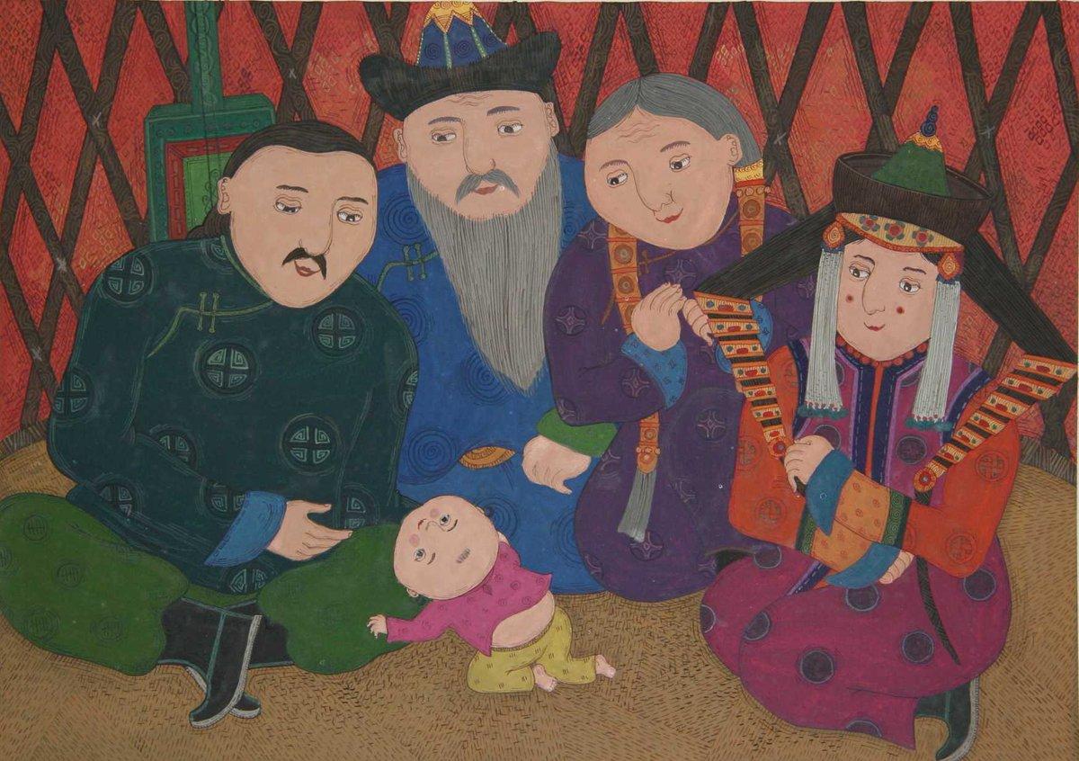 [安曇野館]10月24日15時より「オンラインアーティストトーク~絵本画家ボロルマー・バーサンスレンさんと旅するモンゴル~」を開催します。絵本を通してモンゴルを旅してみませんか?作品:ボロルマー・バーサンスレン『ぼくのうちはゲル』(石風社)より 2006年
