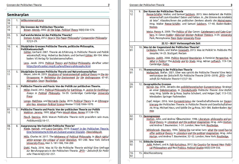 """test Twitter Media - Die Seminarplanung für das WiSe schreitet voran und eine erste Literaturliste für mein Seminar """"Grenzen der Politischen Theorie"""" (das ich inzwischen anders nennen würde, aber naja...) steht. #powilehre https://t.co/ZWar9d7iXZ"""
