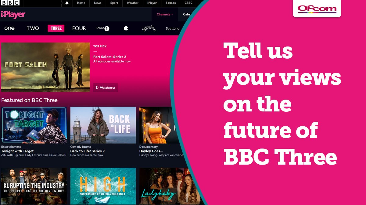 We've provisionally agreed for BBC Three to relaunch as a broadcast channel. 📺 As the broadcasting regulator, we assess the impact of proposed changes like this and see what they mean for you. We'd like your thoughts before the relaunch is finalised ➡️ ofcom.in/BBCthreeprov