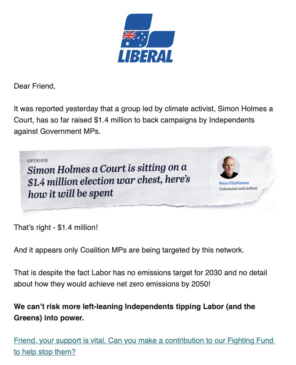 both subscribers to @LiberalAus's newsletter forwarded me this email👇 @climate200 is firmly in their sights. they *hate* us highlighting that even their most 'moderate' MPs vote just like #GeorgeChristensen. sick of inaction on climate & integrity? climate200.com.au/donate 💸