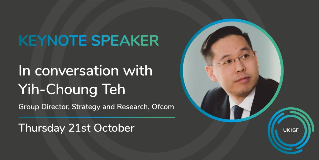 We are pleased to announce our keynote speaker for #UKIGF21 Yih-Choung Teh, Group Director, Strategy and Research at @Ofcom. If you haven't already, sign up for your place here: ukigf.org.uk/events/uk-igf-…