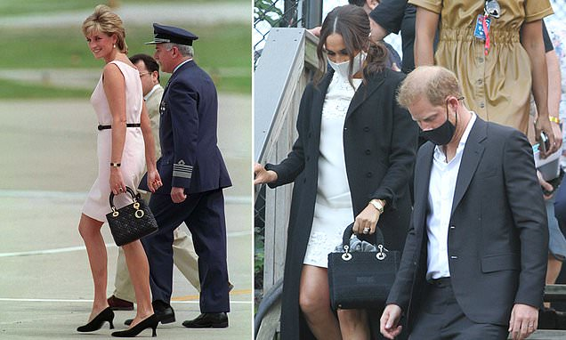 V Meghan's subtle tribute to Diana: Duchess of Sussex carried £3,450 Dior bag named after the late princess in New York - while also wearing her mother-in-law's Cartier watch  ======  dailymail.co.uk/femail/article…