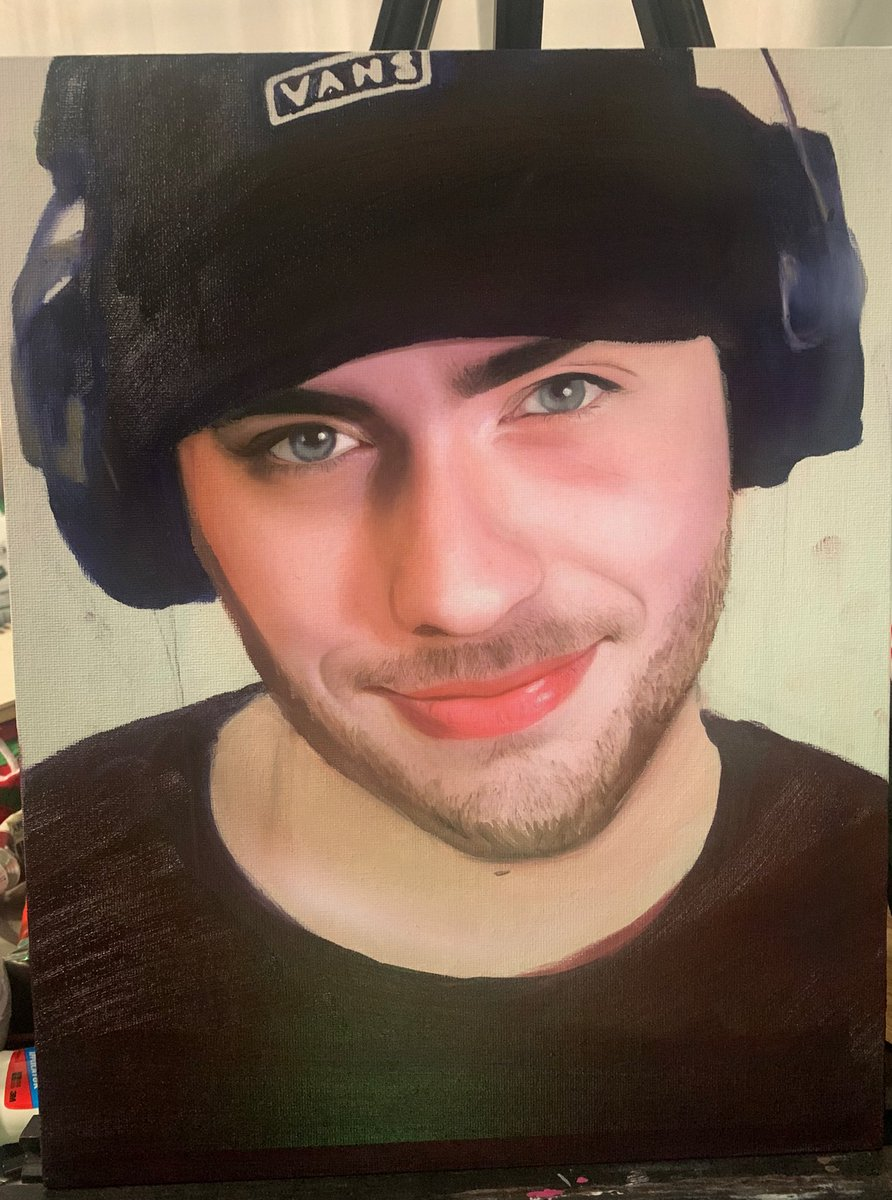 Sapnap oil painting :D I started filming a time lapse but the angle was annoying to paint at so I stopped, I'm doing a Karl one too but I'm debating whether or not to ditch the time lapse. Are they cool? Is it worth it? Idk. #sapnapfanart