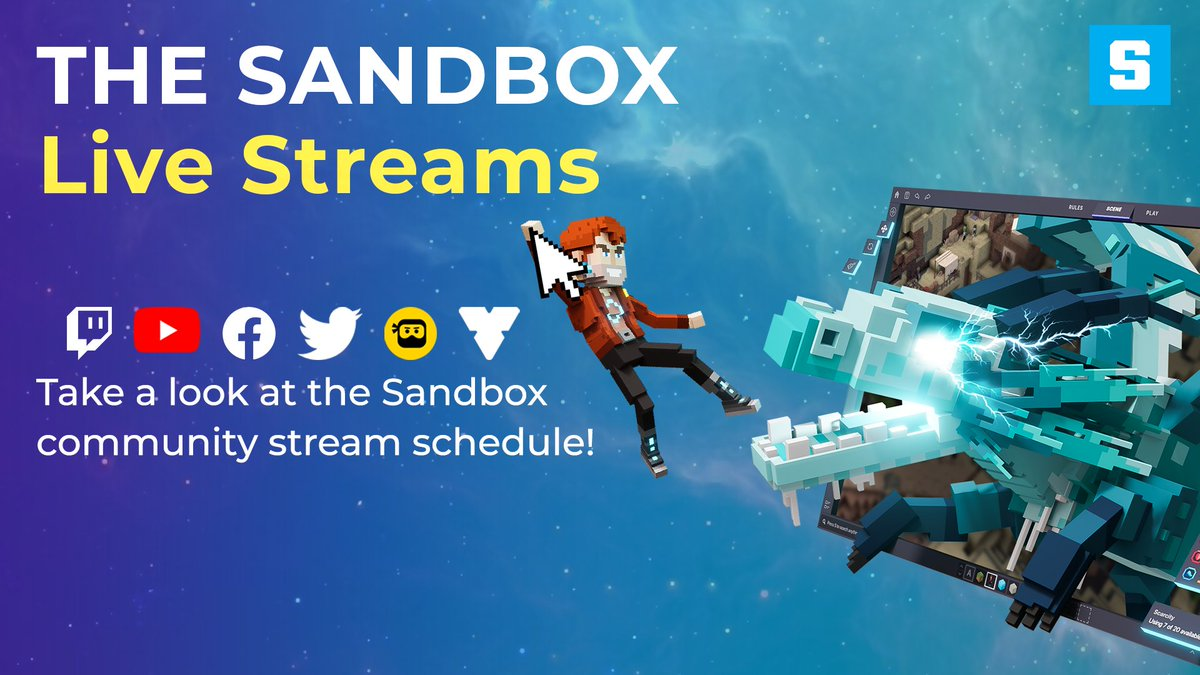 👀 Take a look at all of #TheSandbox community streams that will go live every week! 📺 Enjoy #NFT giveaways, news on VoxEdit & the Game Maker, Q&A and much more! ✨ Find all the streams 👉 bit.ly/TSBLiveStreams…