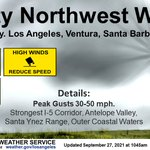 Image for the Tweet beginning: Gusty winds expected through Tuesday