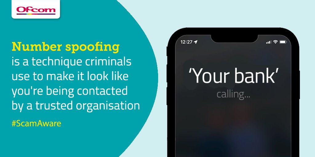 There's been an increase in reports of number spoofing scams, and we're working with the telecoms industry and international regulators to help tackle this issue. Check our guide to help protect yourself from these call and text scams: ofcom.in/spoofed #ScamAware