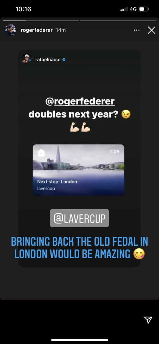Fedal doubles in Laver Cup next year? Can't wait already! 40 grandslams combined, team World gonna get smoked 😂