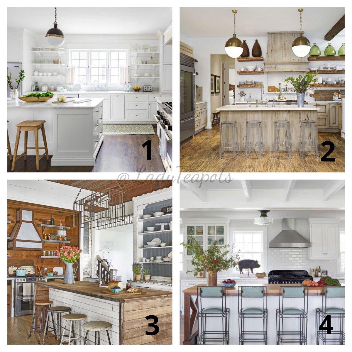 Which farmhouse kitchen do you prefer? 🍃🍒🍃🍒🍃🍒🍃🍒🍃🍒🍃 #QuestionOfTheDay #kitchendecor #kitchendesign #kitchens #farmhouses