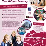 Image for the Tweet beginning: Year 6 Open Evening -
