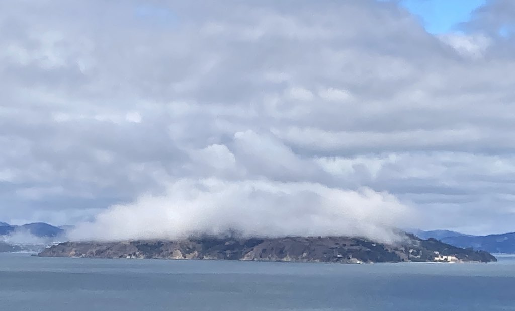 Angel Island is wearing a fog hat this morning ☁️