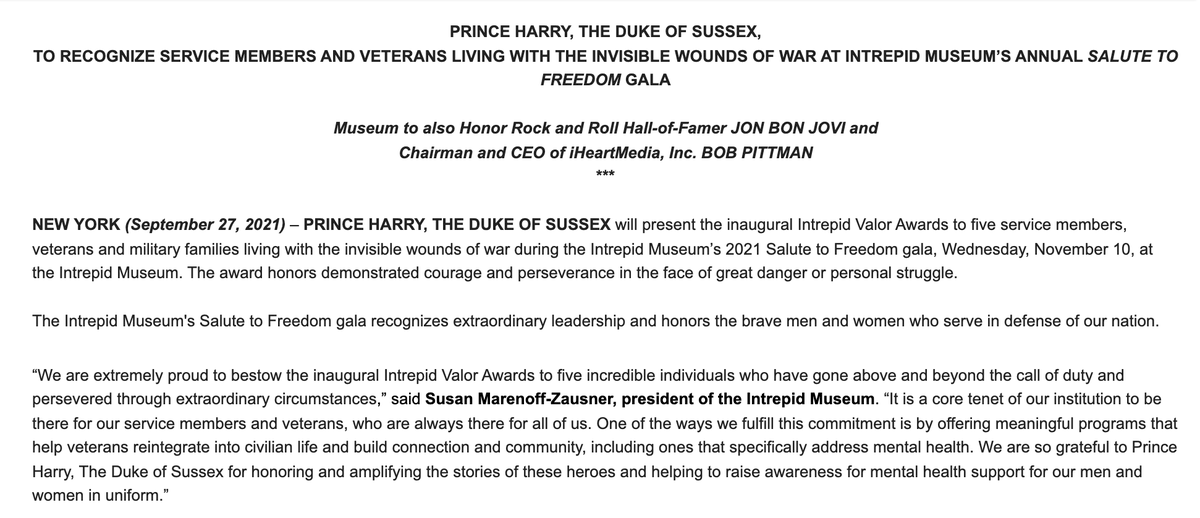 Prince Harry will appear at the Intrepid Museum's 2021 Salute to Freedom gala on Weds, Nov. 10 to 'present the inaugural Intrepid Valor Awards to 5 service members, veterans and military families living with the invisible wounds of war.'   More below ⬇️