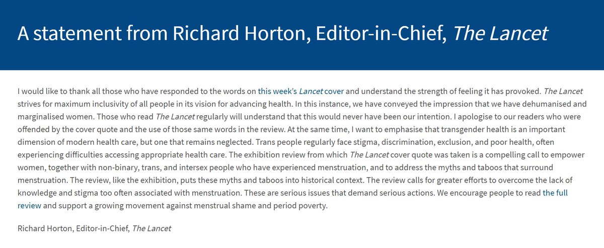Dear readers, in response to the Sept 25, 2021 cover of The Lancet, here is a statement from Richard Horton, Editor-in-Chief: bit.ly/3zFvtwk