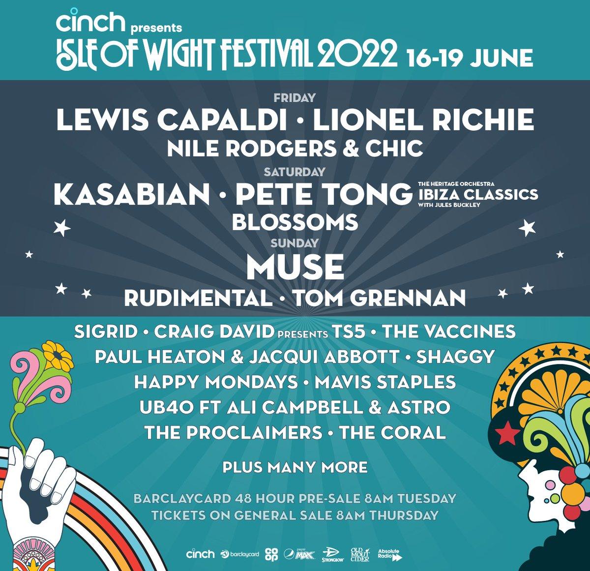 Just announced! We're bringing @IbizaClassics_ to @IsleOfWightFest 2022! Catch us headlining the Saturday!! @julesbuckley @HeritageOrc #IOW2022 #cinchxIOW   Tickets: isleofwightfestival.com/tickets