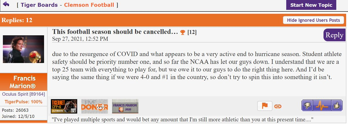 Hey y'all, this #Clemson fan is right on.  Someone needs to look out for the safety of the student athletes.  This season should be cancelled immediately. #thinkofthechildren  (BTW....This has absolutely nothing to do with the fact that Clemson is 2-2).