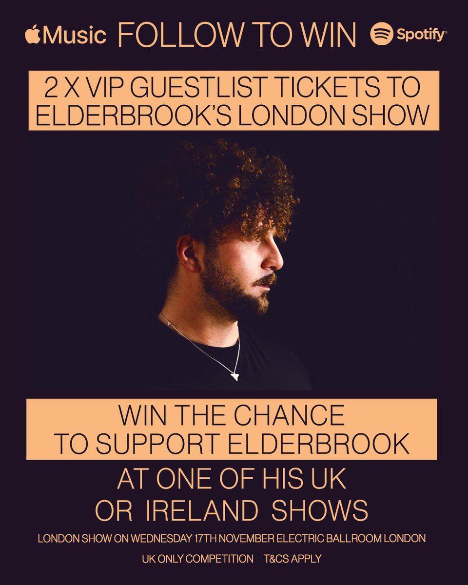 Who wants to support me on one of my UK or Ireland dates and also come as my VIP guest to the London show? Follow to win noooooooow! 👀👀👀 Enter here: fpt.fm/app/30598/elde…