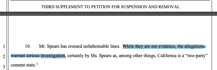 Britney Spears' attorney Mathew Rosengart filed a third supplement to her July petition to suspend/remove her father as conservator this morning.  In it, Rosengart specifically mentions the new surveillance allegations in the #ControllingBritneySpears doc. buzzfeednews.com/article/krysti…