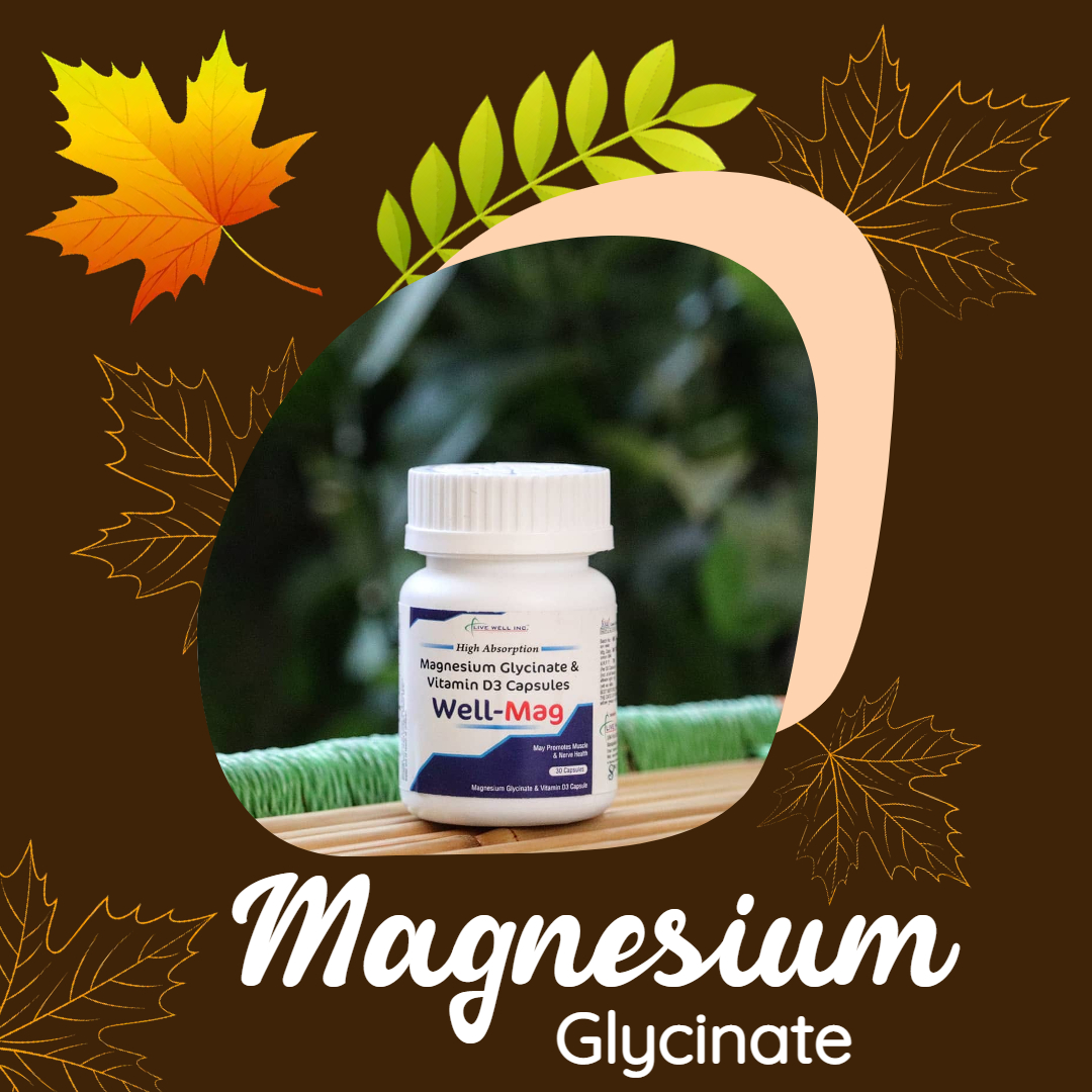 Benefits of Magnesium Glycinate: * It relieves anxiety * Promote bone health * Manage blood sugar and may lower the risk of developing type 2 diabetes * Maintain normal heart rhythms * Reduce symptoms of PMS * Amplify exercise performance * It may help reduce pain Call 9650240044
