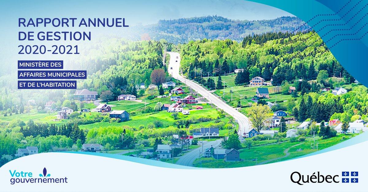 """Signature thématique """"Rapport annuel de gestion 2020-2021"""" Ministère des Affaires municipales et de l'Habitation Signature gouvernementale """"Votre gouvernement"""" Logo du gouvernement du Québec"""