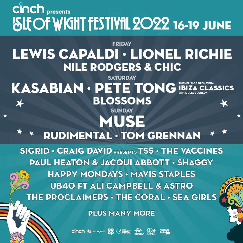 The lineup for the 2022 Isle of Wight festival is announced! 🔥 Tickets go on sale on Thursday Sept 30th! isleofwightfestival.com/info/tickets #IOW2022 #cinchxIOW