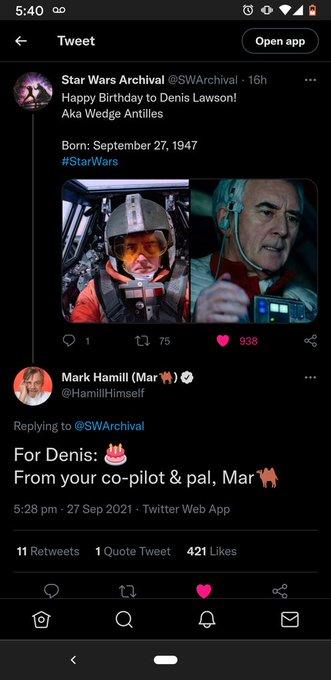 Happy birthday to Wedge(Denis Lawson) ! Also we don\t deserve Mark Hamill.