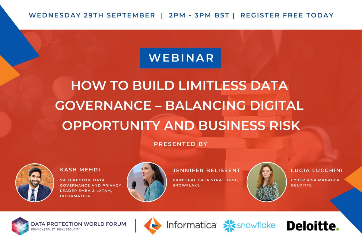 Happening tomorrow with @Deloitte and @SnowflakeDB 👇  #datagovernance
