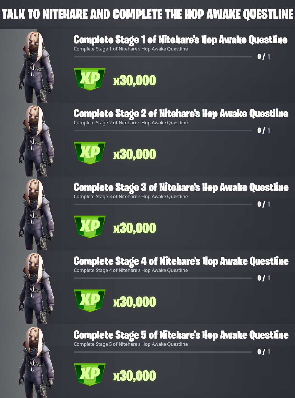 Nitehare's Punchcard quests in Fortnite