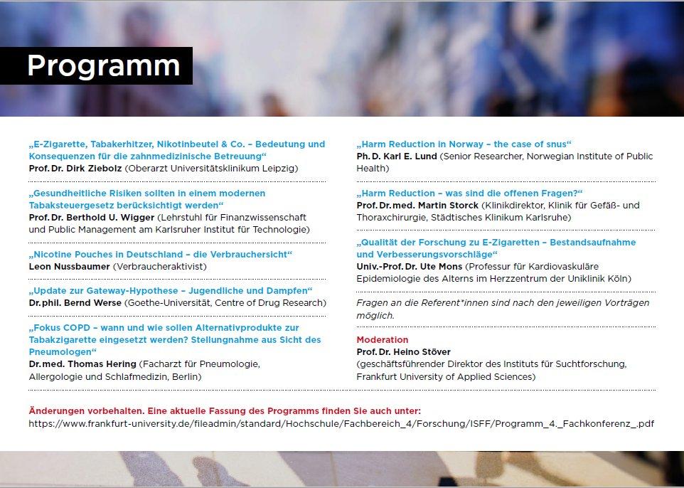 Am 13.10.2021 lädt Prof. @HeinoStoever wieder Experten aus allen Fachrichtungen zum Thema Harm Reduction an die @ISFF_frankfurt ein. Eine Teilnahme ist sowohl persönlich als auch online via Zoom möglich.  Für uns ein dickes Kreuz im Kalender.