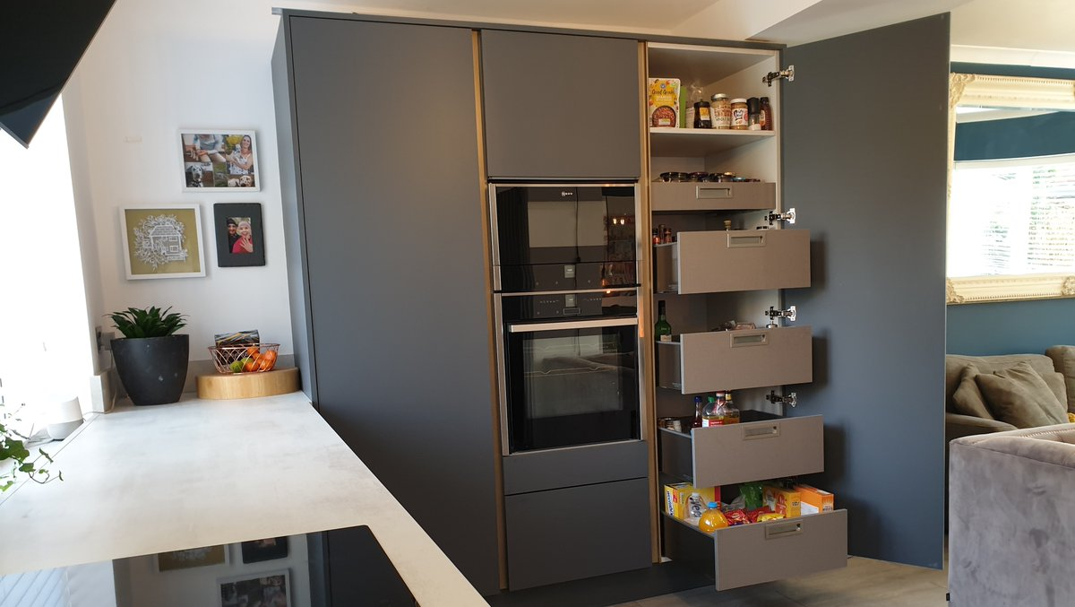 'I love everything about my Masterclass kitchen, but one of my favourite features has to be the storage...🔪🍳 I can now keep all of my food and utensils behind closed doors, making my open plan kitchen feel sleek and fresh!' 