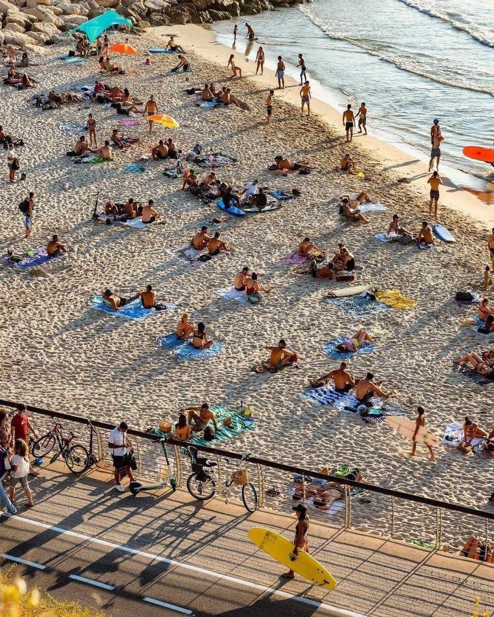 مساء الخير من شاطئ تل ابيب في اواخر ايام الصيف. شعب إسرائيل يعشق الطبيعة والحياة