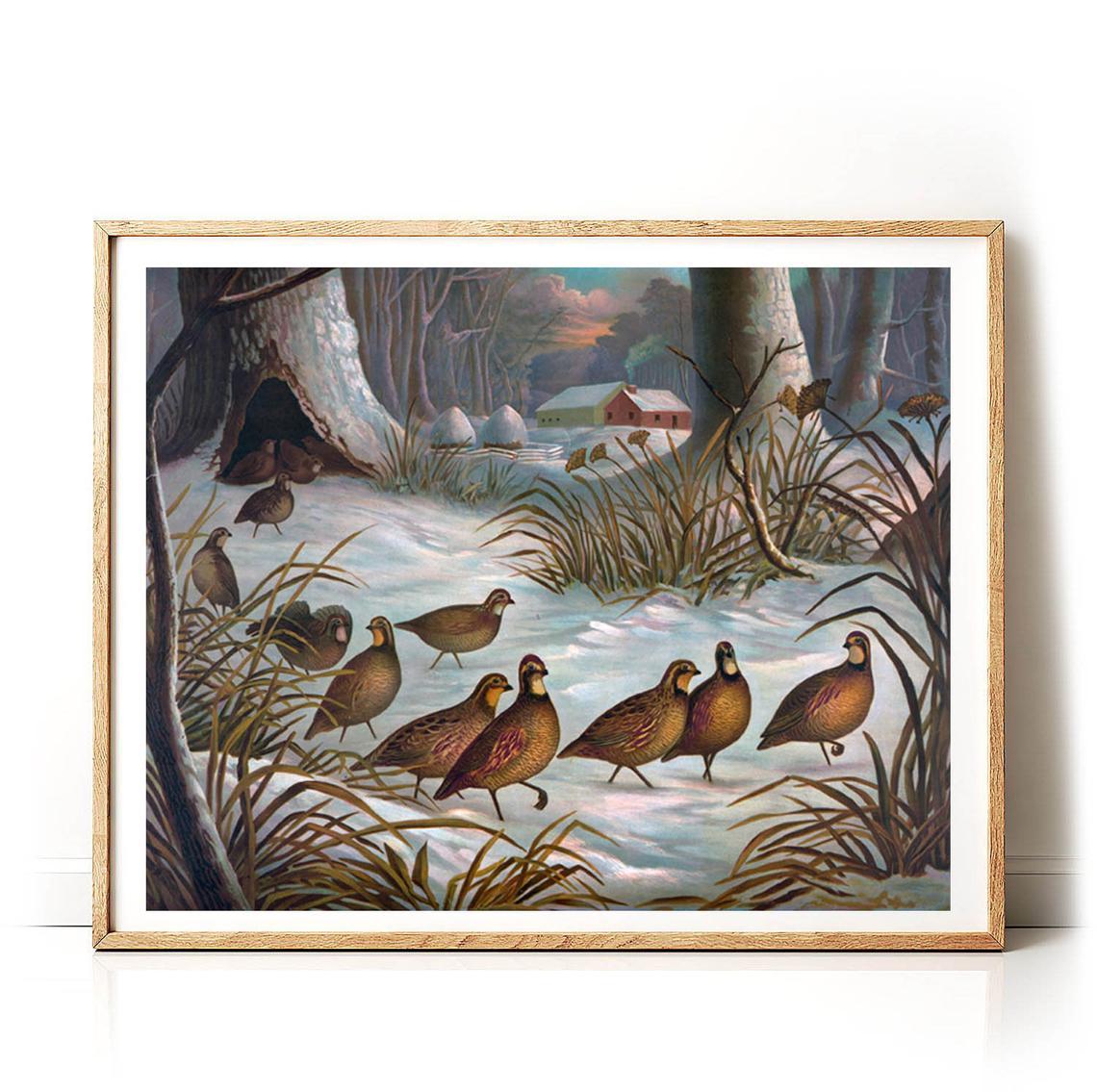 Lovely winter scene downloadable print  birds #winter vintage