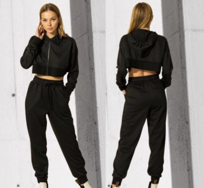 New: the Ivanka Jogger set! Hooded, cropped sweatshirt with zipper closure. 🖤 Relaxed joggers with pockets! $48!   Ivanka Jogger Set -   #JoggerSet #Sweatshirt #Hoodie #Cropped #Joggers #Black #LoungeWear #Ivanka #Fall #Winter #VanillaFringeBoutique