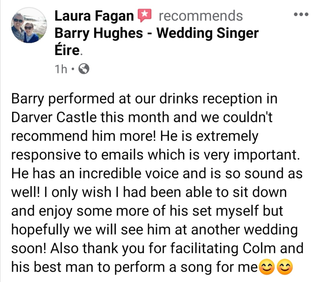 Thank you Laura & Colm for these very kind words. I really enjoyed being part of your day in @Darvercastle. And Colm & Killian smashed their performance of that special song too 🙌🏻  #wedding #weddingsinger #weddingmusician #WeddingSingerEIRE @WeddingChatIre @Louthchat
