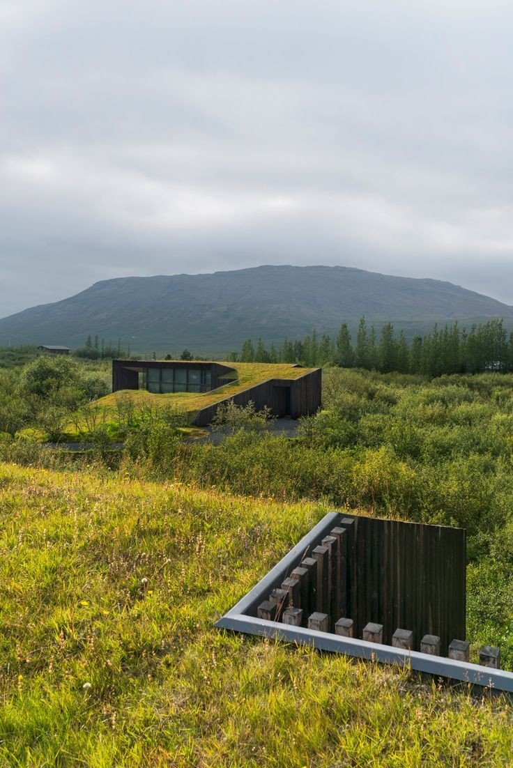 Green roofs on eco homes blend houses into the landscape - by RK Arkitektar - photo from @dezeen #nature #wildlife #carbon #home #architecture #Iceland