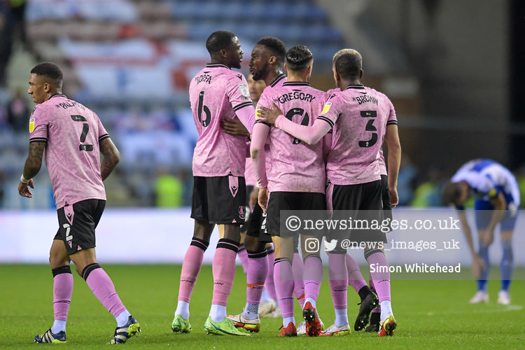The Sheffield Wednesday players celebrate Max Power #8 of Wigan Athletic scoring an own goal to make it 0-1 @LaticsOfficial #Wigan @swfc #swfc @SkyBetLeagueOne #photography @SkimboydPics