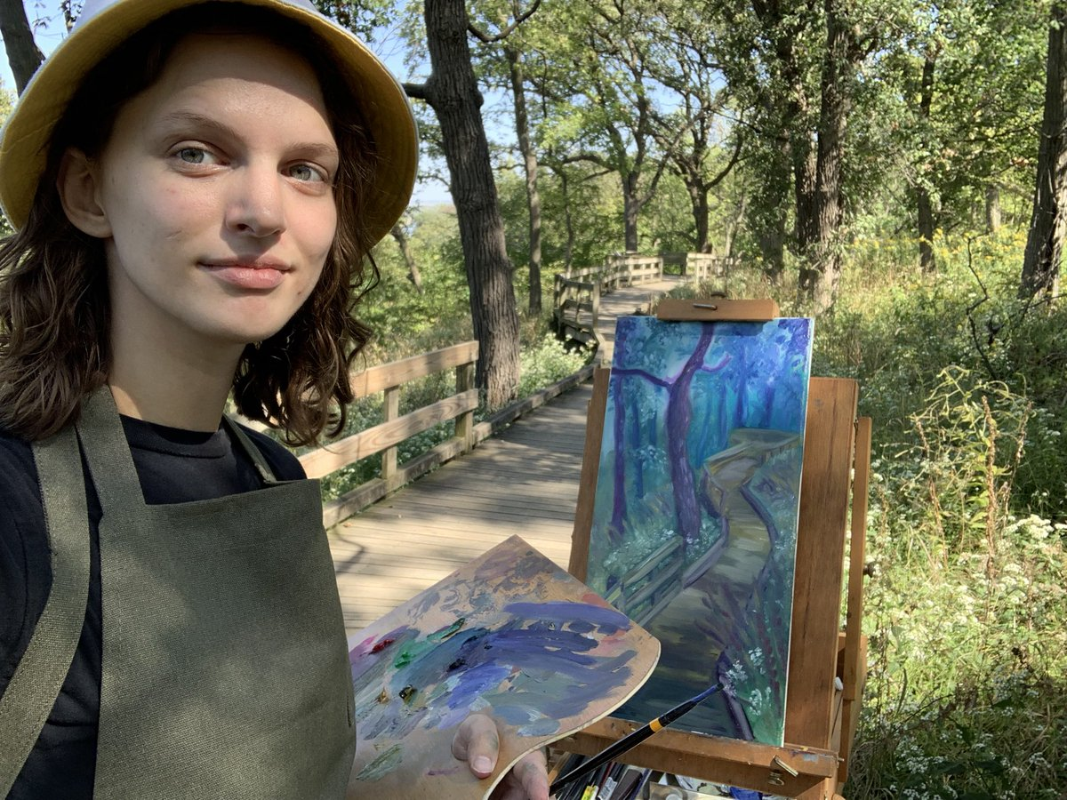Out painting in Fontenelle Forest!   #painting #pleinair #outside #hiking #forest #trail #art #artist #oilpainting