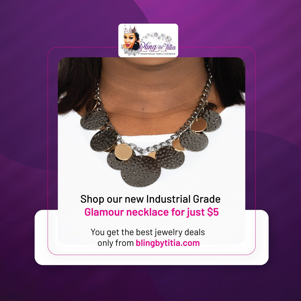 Enhance your appearance and charm with our new Industrial Grade Glamour necklace for just $5 on   All our jewelry collections are lead and nickel-free. You get the best jewelry deals only from Bling by Titia.  #BlingByTitia #fashion #jewelry