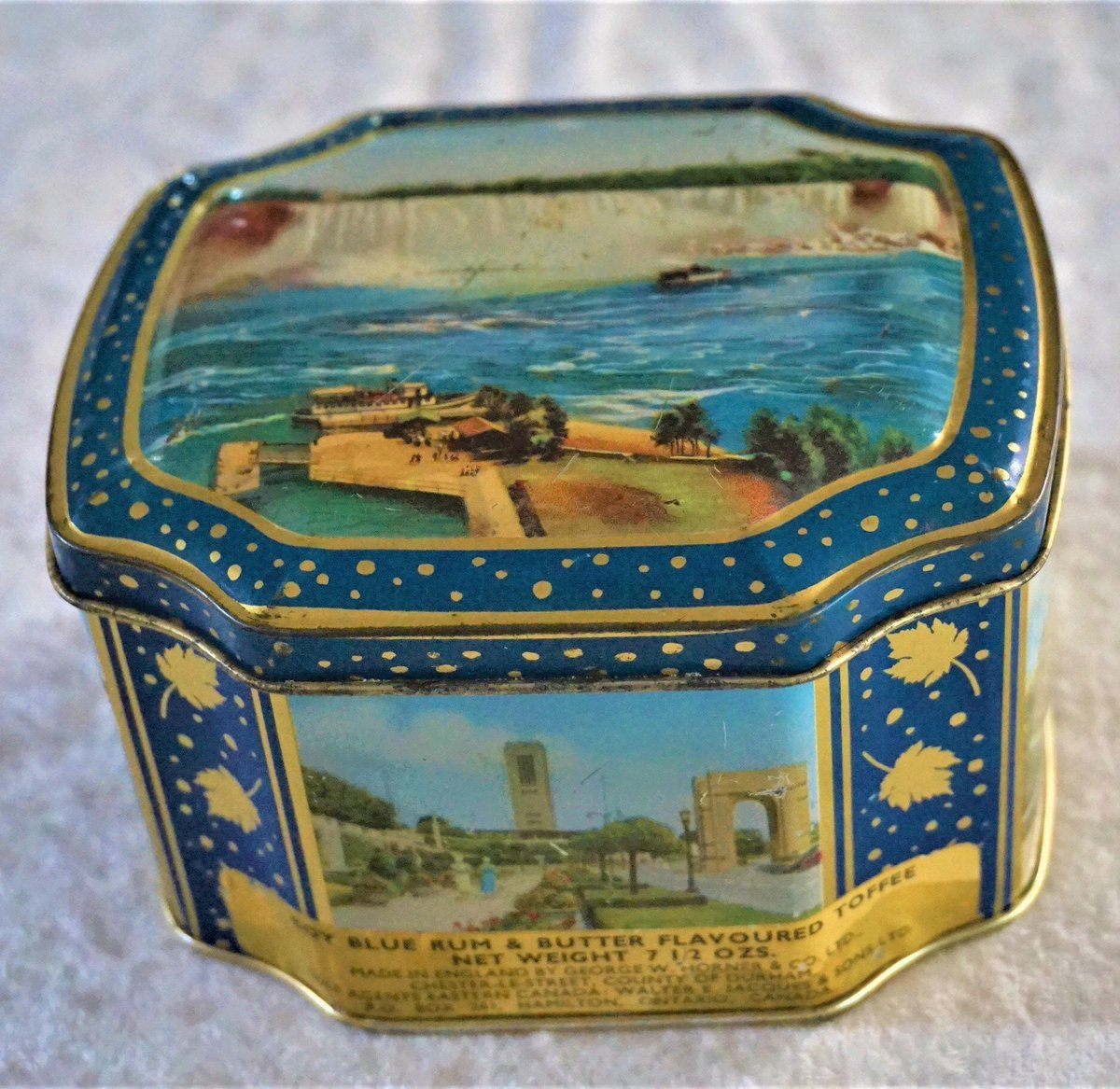 Excited to share the latest addition to my #etsy shop: Vintage Boy Blue Rum & Butter Candy Tin, Collectible Souvenir Niagara Falls Rare Find Unique Home Decor Gift For Her, Same Day Free Shipping  #blue #birthday #mothersday #gold #collectiblesou