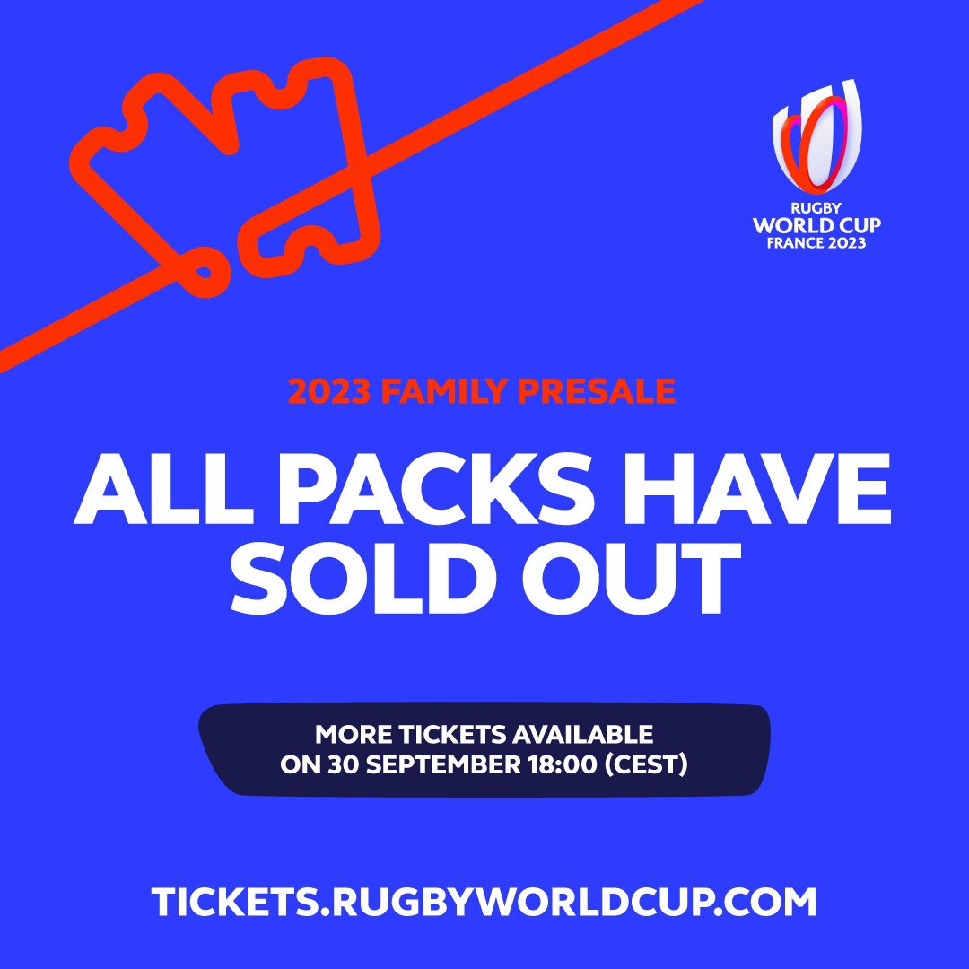 test Twitter Media - #RWC2023 ticketing update: All the City Packs and Quarter-Final Packs have sold out in today's exclusive presale window  Tickets go on general public sale at 18.00 CEST on 30 September https://t.co/gOchl4Octb