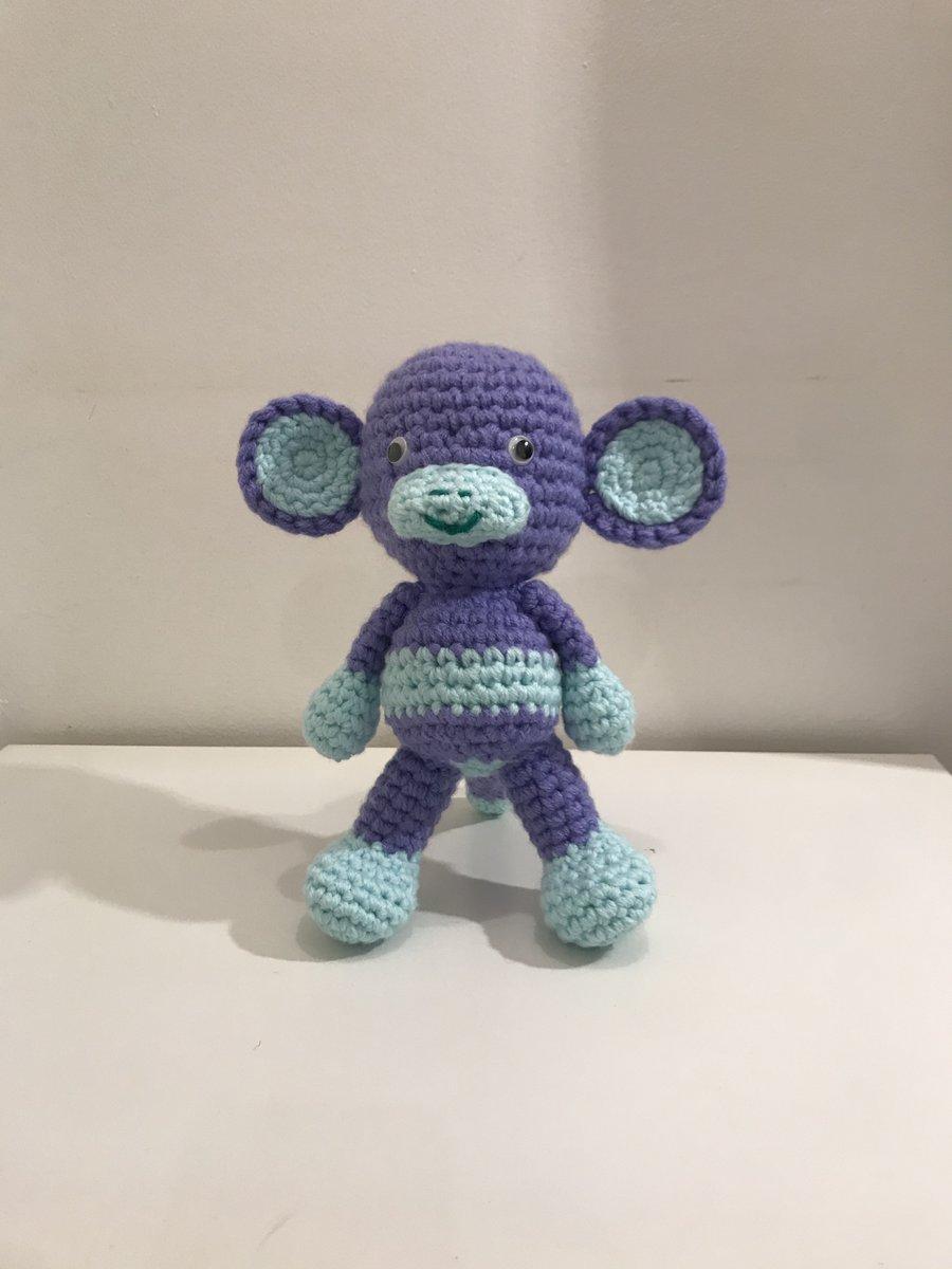 """Purple Monkey, Soft Toy, 10"""" tall, freestanding -  #monkey #crochet #etsy #handmade #amigurumi #etsyretwt #ATEtsyRT #anthonybrighton"""