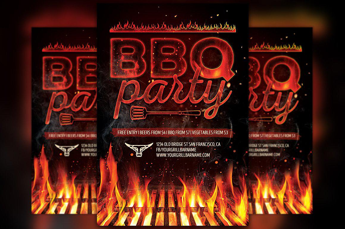 Barbecue Grill Party Flyer Template   #marketing #patio #family #cosmetologist #networkparty #retro #dubstep #flyer #style #free #tabletent