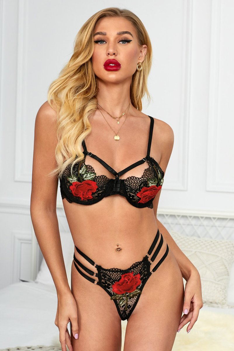 """The Stylish """"Black Floral Embroidery Lace Bralette Set"""" You're Looking For Is In Stock. Low Prices For Limited Time. Come Get It!   #Black #Bralettes #Lingerie"""