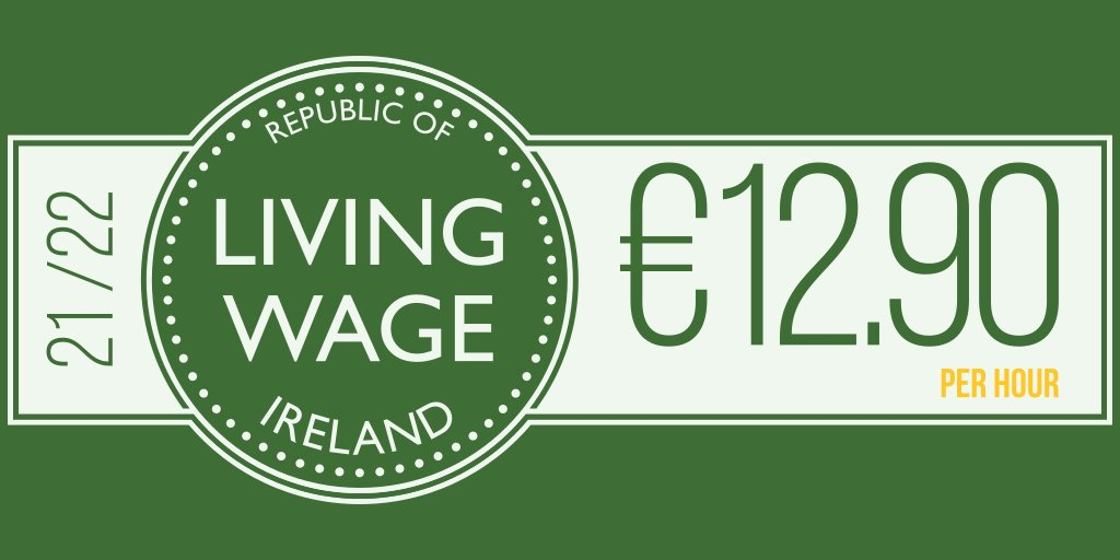 Ireland's #LivingWage updated today - the 2021/22 rate is €12.90 per hour. All the details here: livingwage.ie
