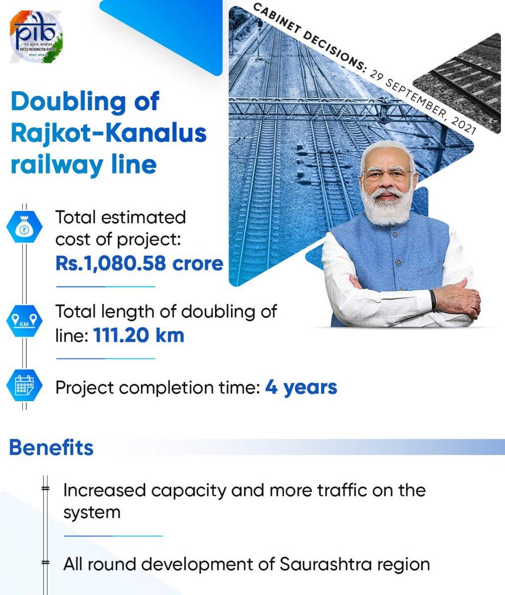 Union Cabinet approves doubling of Rajkot – Kanalus railway line in Gujarat