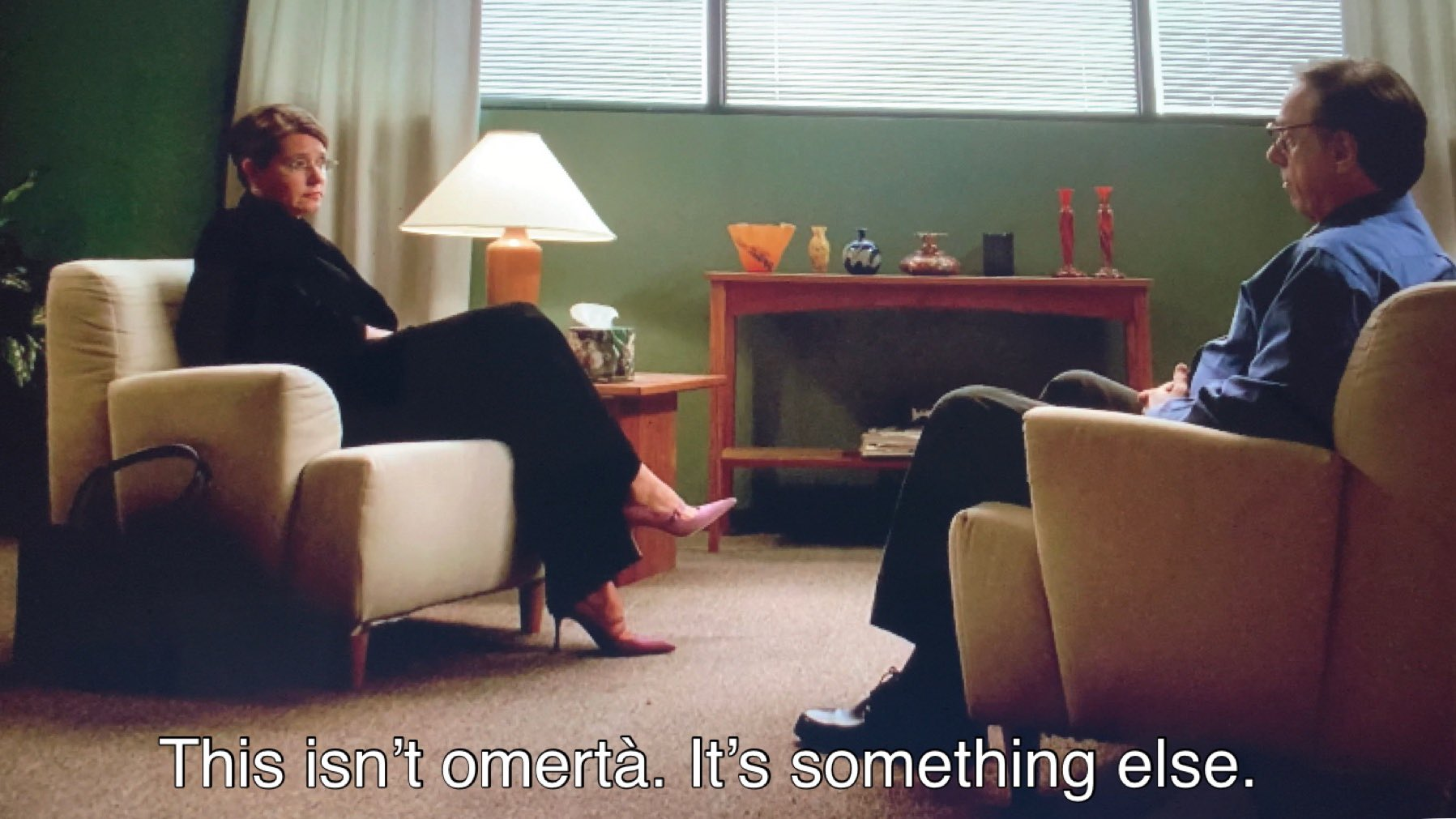 Dr. Melfi is talking to Dr. Elliot Kupferberg about Tony Soprano's mental health.